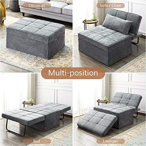 51mKgJt5yBL. AC  - Vonanda Ottoman Folding Chair Bed, Modern Velvet Sleeper Sofa Multi-Position Convertible Couch Lounger Guest Bed with Pillow for Small Space, Velvet Gray