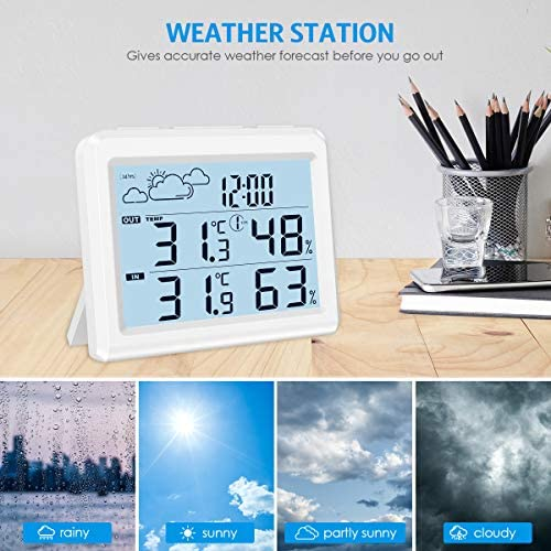 51qCTmwwP2L. AC  - Brifit Weather Station, Digital Indoor Outdoor Thermometer Hygromete, Home Weather Forecaster Station, Wireless Temperature and Humidity Monitor with Remote Sensor, Backlight, Time, Alarm Clock