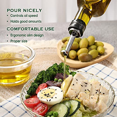 51rKv4wyU0S. AC  - Aozita 17oz Glass Olive Oil Dispenser Bottle - 500ml Clear -Oil & Vinegar Cruet with Pourers and Funnel - Olive Oil Carafe Decanter for Kitchen