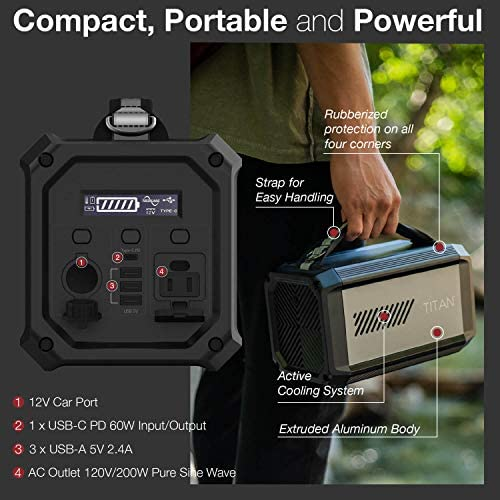 51rcLXwW jL. AC  - X-Doria Raptic Titan Portable Power Station (Formerly Defense Titan), 225Wh Backup Lithium Battery, Generator for Outdoors Camping Festivals Travel Emergency