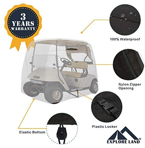 51t3G6KKZiL. AC  - Explore Land 600D Waterproof Golf Cart Cover Universal Fits for Most Brand 4 Passenger Golf Cart