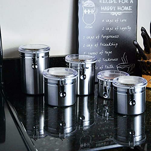 51u15SczkUS. AC  - Le'raze [Set of 5] Stainless Steel Airtight Canister Set, Durable Stackable Caddy & Food Storage Container for Kitchen Counter, Tea, Sugar, Coffee, Candy, Flour Canister with Clear Acrylic Lids & Locking Clamp