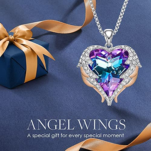 51uNjEZK5oS. AC  - CDE Angel Wing Love Heart Necklaces for Women, Silver Tone/Gold Tone Pendant Necklace Jewelry Gifts for Her on Christmas, Valentine's/Mother's Day, Anniversary, Birthday Gifts for Women Girls Wife Girlfriend
