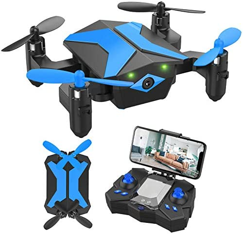 51uxXhwQ25L. AC  - Drone with Camera Drones for Kids Beginners, RC Quadcopter with App FPV Video, Voice Control, Altitude Hold, Headless Mode, Trajectory Flight, Foldable Kids Drone Boys Gifts Girls Toys-Light Blue