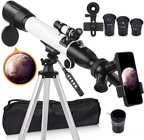 51wNXr6KxuS. AC  - [Upgraded] Telescope, Astronomy Telescope for Adults, 60mm Aperture 500mm AZ Mount Astronomical Refracting Telescope for Kids Beginners with Adjustable Tripod, Phone Adapter, Nylon Bag