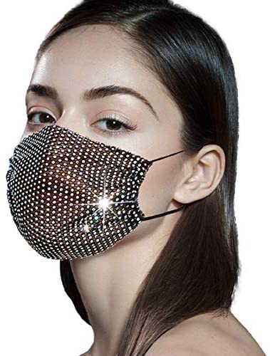 51xQjVZ7d4L. AC  - Sparkly Rhinestone Mesh Face Mask Masquerade Mask for Women Glitter Face Mask Bling Face Mask Christmas Party