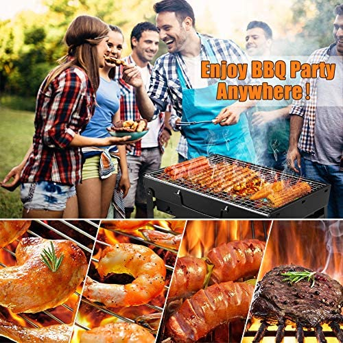 614S4jSNfBL. AC  - UTTORA Barbecue Grill, Charcoal Grill Portable Folding BBQ Grill Barbecue Desk Tabletop Outdoor Stainless Steel Smoker BBQ for Picnic Garden Terrace Camping Travel 15.35''x11.41''x2.95''