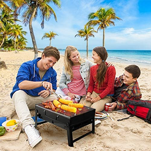61HvQwsJGIL. AC  - UTTORA Barbecue Grill, Charcoal Grill Portable Folding BBQ Grill Barbecue Desk Tabletop Outdoor Stainless Steel Smoker BBQ for Picnic Garden Terrace Camping Travel 15.35''x11.41''x2.95''