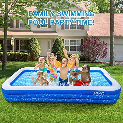 """61IY2qCRHsL. AC  - JONYJ Inflatable Pool, 150'' x 72'' x 22"""" Family Full-Sized Inflatable Swimming Pool, Blow Up Pool for Kids, Adults, Toddlers, Oversize Lounge Kiddie Pools for Outdoor, Garden, Backyard"""