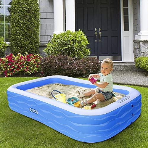 """61VYLhw m3L. AC  - Inflatable Swimming Pool Family Full-Sized Inflatable Pools 118"""" x 72"""" x 22"""" Thickened Family Lounge Pool for Toddlers, Kids & Adults Oversized Kiddie Pool Outdoor Blow Up Pool for Backyard, Garden"""