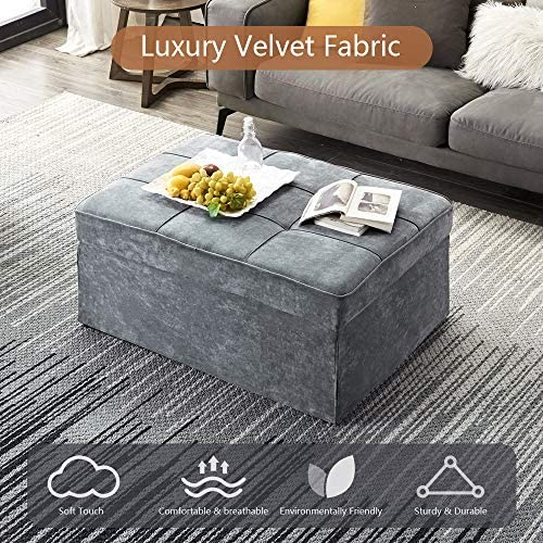 61Xrx68nQ L. AC  - Vonanda Ottoman Folding Chair Bed, Modern Velvet Sleeper Sofa Multi-Position Convertible Couch Lounger Guest Bed with Pillow for Small Space, Velvet Gray