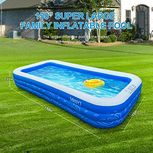 """61iJn6tKftL. AC  - JONYJ Inflatable Pool, 150'' x 72'' x 22"""" Family Full-Sized Inflatable Swimming Pool, Blow Up Pool for Kids, Adults, Toddlers, Oversize Lounge Kiddie Pools for Outdoor, Garden, Backyard"""
