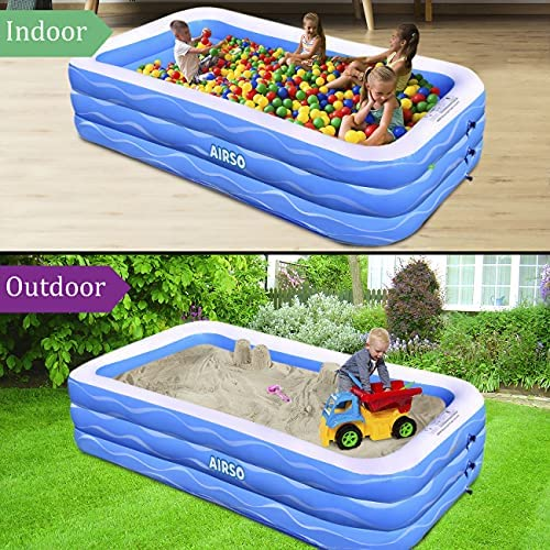 """61xUwSKsfxS. AC  - Inflatable Swimming Pool Family Full-Sized Inflatable Pools 118"""" x 72"""" x 22"""" Thickened Family Lounge Pool for Toddlers, Kids & Adults Oversized Kiddie Pool Outdoor Blow Up Pool for Backyard, Garden"""