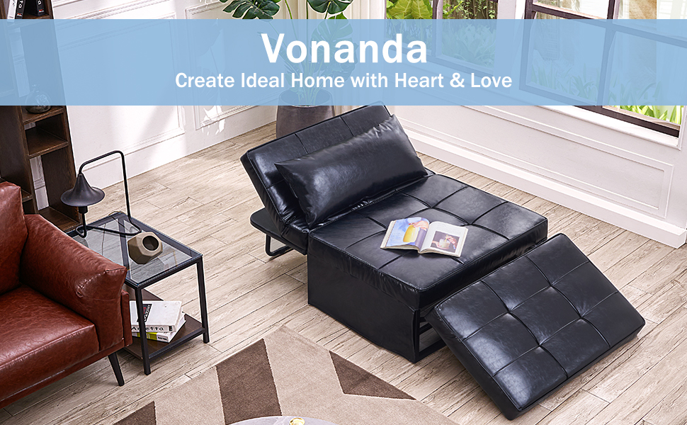 63b91706 91d7 477f 9b02 83d6be6f5b70.  CR0,0,970,600 PT0 SX970 V1    - Vonanda Leather Ottoman Sofa Bed, Small Modern Couch Multi-Position Convertible Comfortable and Durable Leather Couch Lounger Guest Bed with Pillow for Small Space, Black