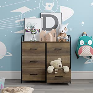 66cee85b 099e 498a 9639 1c13b99c9ea1.  CR0,0,1500,1500 PT0 SX300 V1    - HOMECHO Fabric Dresser with 6 Drawers, Wide Chest of Drawers with Wood Top, Sturdy Metal Frame, Furniture Storage Tower for Bedroom, Closets, Hallway, Entryway, Rustic Brown