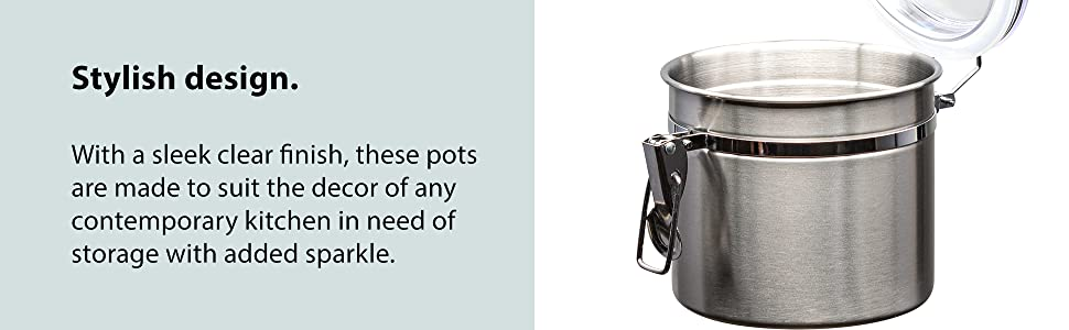 70448471 a217 4f28 813f 9074ca8a7535.  CR0,0,1940,600 PT0 SX970 V1    - Le'raze [Set of 5] Stainless Steel Airtight Canister Set, Durable Stackable Caddy & Food Storage Container for Kitchen Counter, Tea, Sugar, Coffee, Candy, Flour Canister with Clear Acrylic Lids & Locking Clamp