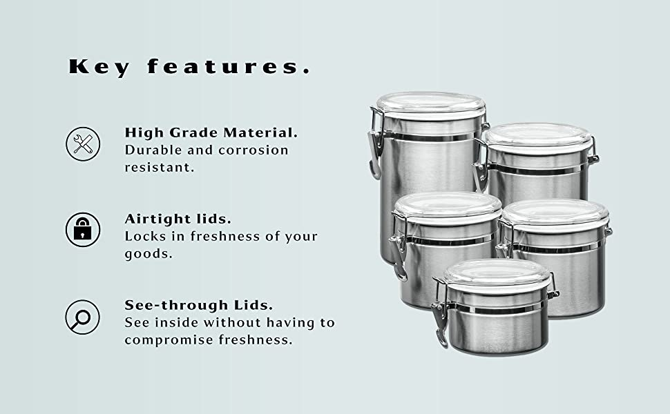 93390d9a 06b2 401b b780 9ba749c5d56d.  CR0,0,1940,1200 PT0 SX970 V1    - Le'raze [Set of 5] Stainless Steel Airtight Canister Set, Durable Stackable Caddy & Food Storage Container for Kitchen Counter, Tea, Sugar, Coffee, Candy, Flour Canister with Clear Acrylic Lids & Locking Clamp