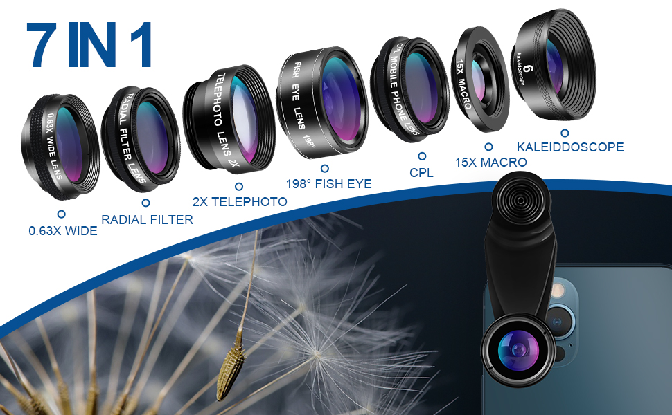 94fd9c53 cd4f 446e aaef f1234deb36be.  CR0,0,970,600 PT0 SX970 V1    - LIGINN 7 in 1 Phone Camera Lens Kit Wide Angle Lens & Macro +Fisheye Lens +2X Telephoto Zoom Lens+Kaleidoscope/CPL+ND Radial Filter for iPhone Smartphones/Pixel/Samsung/Android Phones Camera