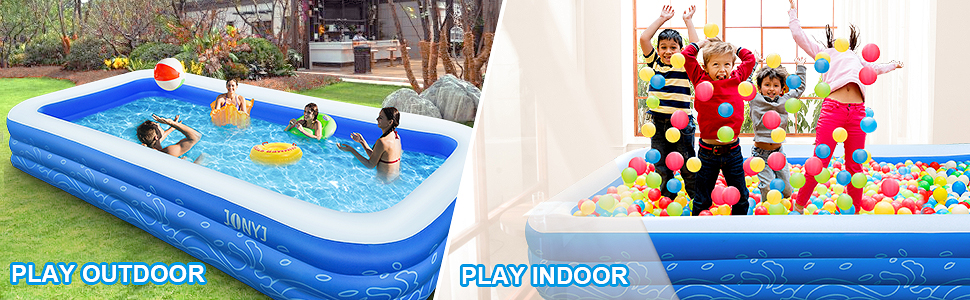 """9c303ad1 7495 4a4b be3e c1572326efd8.  CR0,0,970,300 PT0 SX970 V1    - JONYJ Inflatable Pool, 150'' x 72'' x 22"""" Family Full-Sized Inflatable Swimming Pool, Blow Up Pool for Kids, Adults, Toddlers, Oversize Lounge Kiddie Pools for Outdoor, Garden, Backyard"""