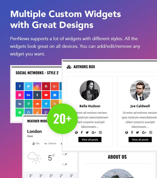 P11 Custom Widgets - PenNews - Multi-Purpose AMP WordPress Theme