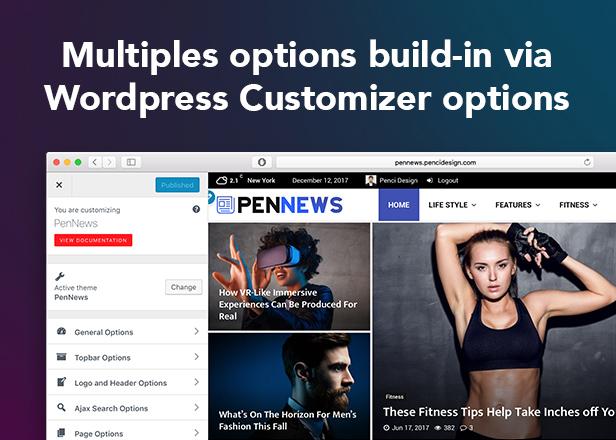 P8 Customizer2 - PenNews - Multi-Purpose AMP WordPress Theme