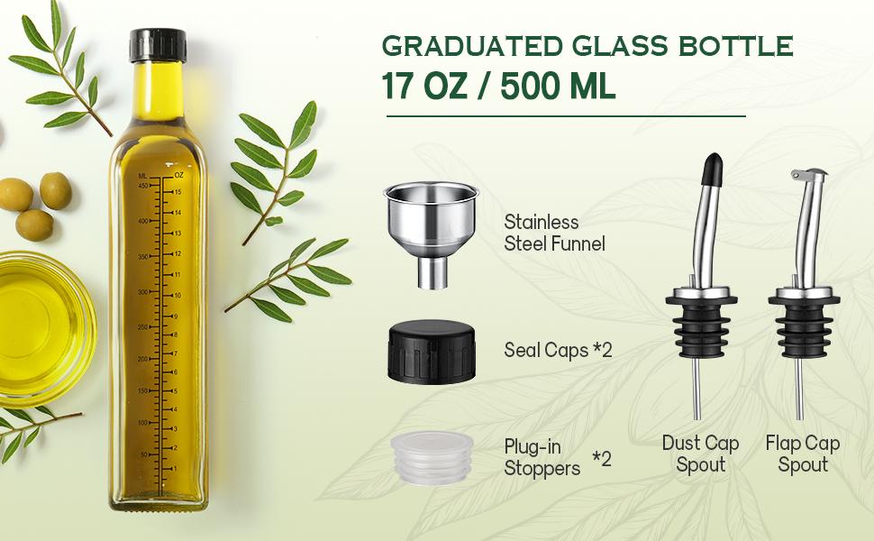b02790da a8f8 4e5d 9b22 7aaba182bc30.  CR0,0,970,600 PT0 SX970 V1    - Aozita 17oz Glass Olive Oil Dispenser Bottle - 500ml Clear -Oil & Vinegar Cruet with Pourers and Funnel - Olive Oil Carafe Decanter for Kitchen