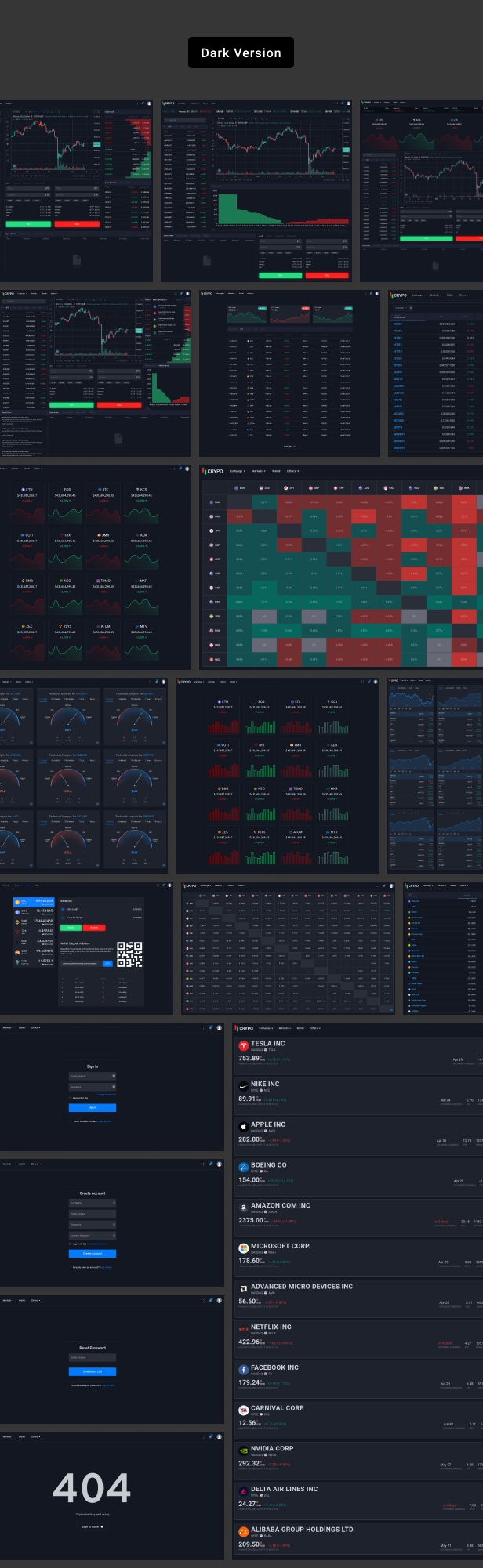 dark version - Crypo - Cryptocurrency Trading Dashboard HTML Template