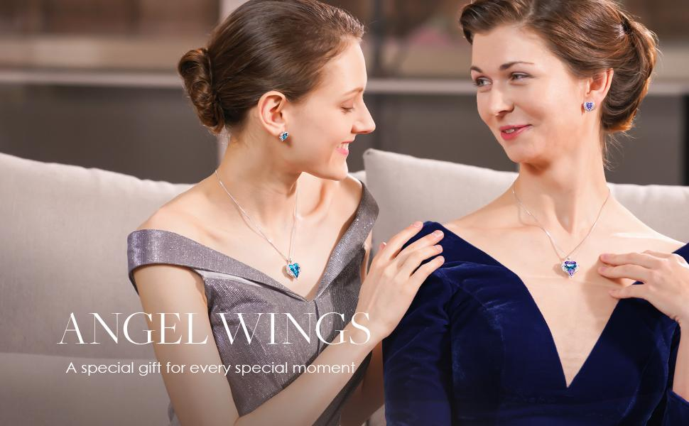 e8190631 5c47 4131 bd05 ab7fa3270039.  CR0,0,970,600 PT0 SX970 V1    - CDE Angel Wing Love Heart Necklaces for Women, Silver Tone/Gold Tone Pendant Necklace Jewelry Gifts for Her on Christmas, Valentine's/Mother's Day, Anniversary, Birthday Gifts for Women Girls Wife Girlfriend