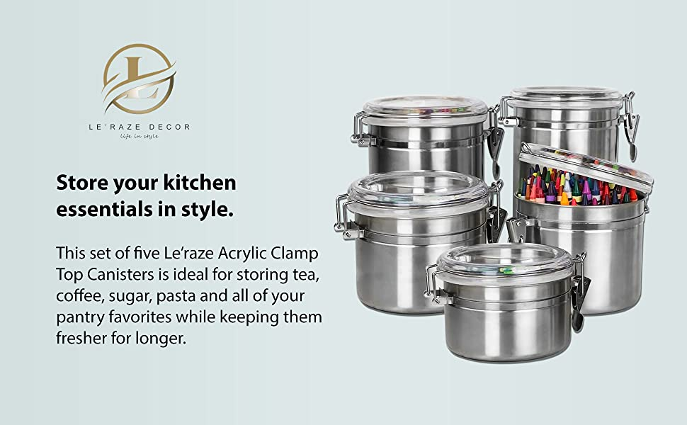 ec87b8a0 347e 4738 8358 cdf20716d4f2.  CR0,0,1940,1200 PT0 SX970 V1    - Le'raze [Set of 5] Stainless Steel Airtight Canister Set, Durable Stackable Caddy & Food Storage Container for Kitchen Counter, Tea, Sugar, Coffee, Candy, Flour Canister with Clear Acrylic Lids & Locking Clamp