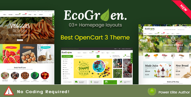 ecogreen - eMarket - Multi-purpose MarketPlace OpenCart 3 Theme (30+ Homepages & Mobile Layouts Included)