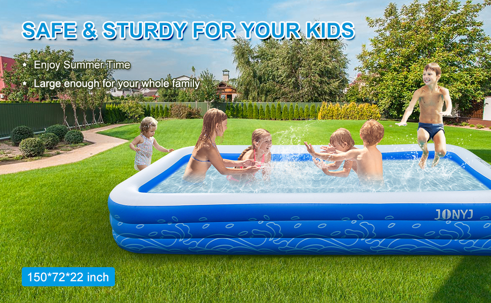 """efe91234 6a45 4461 aa07 e1d64a2a360d.  CR0,0,970,600 PT0 SX970 V1    - JONYJ Inflatable Pool, 150'' x 72'' x 22"""" Family Full-Sized Inflatable Swimming Pool, Blow Up Pool for Kids, Adults, Toddlers, Oversize Lounge Kiddie Pools for Outdoor, Garden, Backyard"""