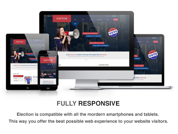 election theme feature responsive - Election - Political WordPress Theme