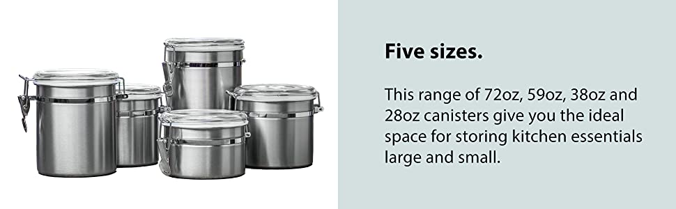 f395e35c 262c 4958 9126 ec99f6b931a9.  CR0,0,1940,600 PT0 SX970 V1    - Le'raze [Set of 5] Stainless Steel Airtight Canister Set, Durable Stackable Caddy & Food Storage Container for Kitchen Counter, Tea, Sugar, Coffee, Candy, Flour Canister with Clear Acrylic Lids & Locking Clamp