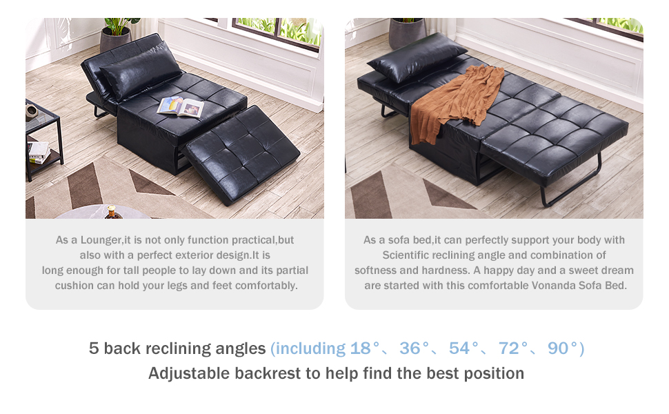 f475c551 0995 4909 b31f d69e97f8fece.  CR0,0,970,600 PT0 SX970 V1    - Vonanda Leather Ottoman Sofa Bed, Small Modern Couch Multi-Position Convertible Comfortable and Durable Leather Couch Lounger Guest Bed with Pillow for Small Space, Black