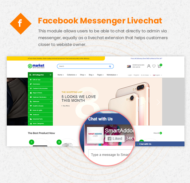 fb livechat - eMarket - Multi-purpose MarketPlace OpenCart 3 Theme (30+ Homepages & Mobile Layouts Included)