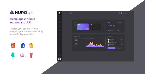 huro preview.  large preview - Huro - Multipurpose Admin and Webapp UI Kit