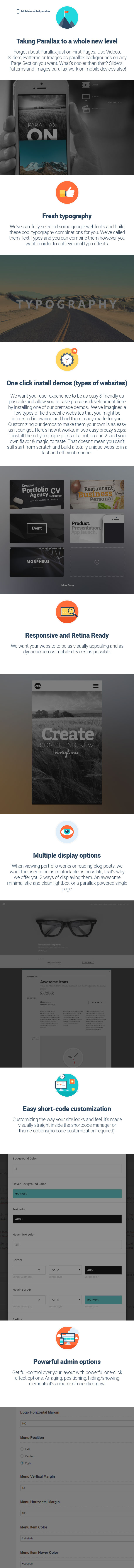 item description - Morpheus - Ultimate One Page Parallax Theme