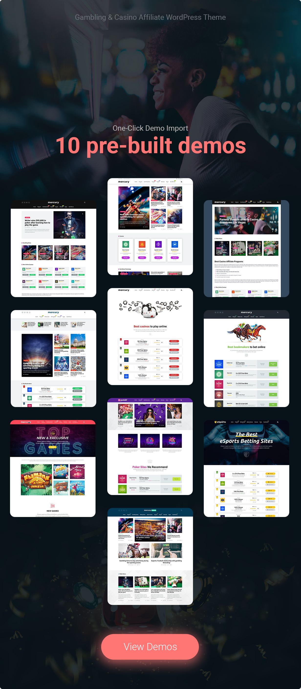 item page landing demos compressed - Mercury - Affiliate WordPress Theme. Casino, Gambling & Other Niches. Reviews & News