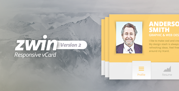 preview.  large preview - Zwin - Responsive Vcard Template