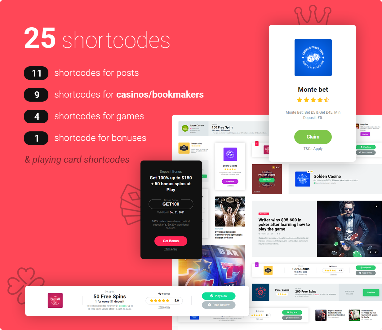 shortcodes for lp 2 2 - Mercury - Affiliate WordPress Theme. Casino, Gambling & Other Niches. Reviews & News