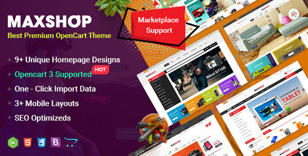 so maxshop - eMarket - Multi-purpose MarketPlace OpenCart 3 Theme (30+ Homepages & Mobile Layouts Included)