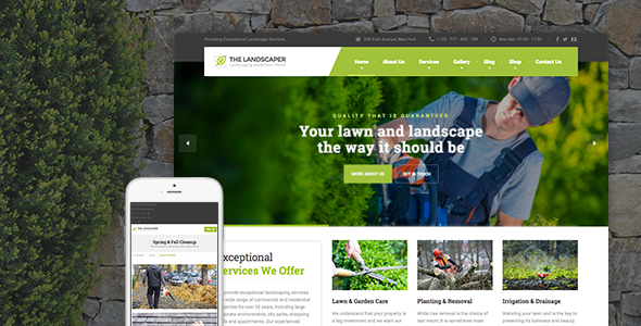 theme preview.  large preview - The Landscaper - Lawn & Landscaping WP Theme