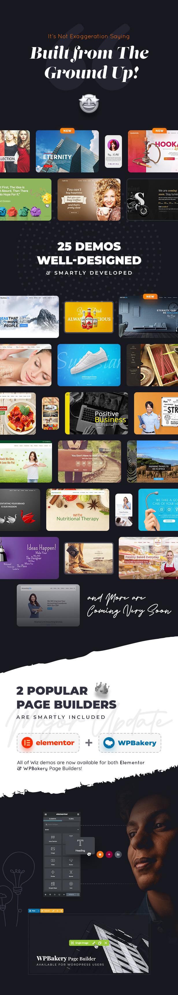 wiz demos built from the ground up - Wiz - Elementor MultiPurpose WordPress Theme