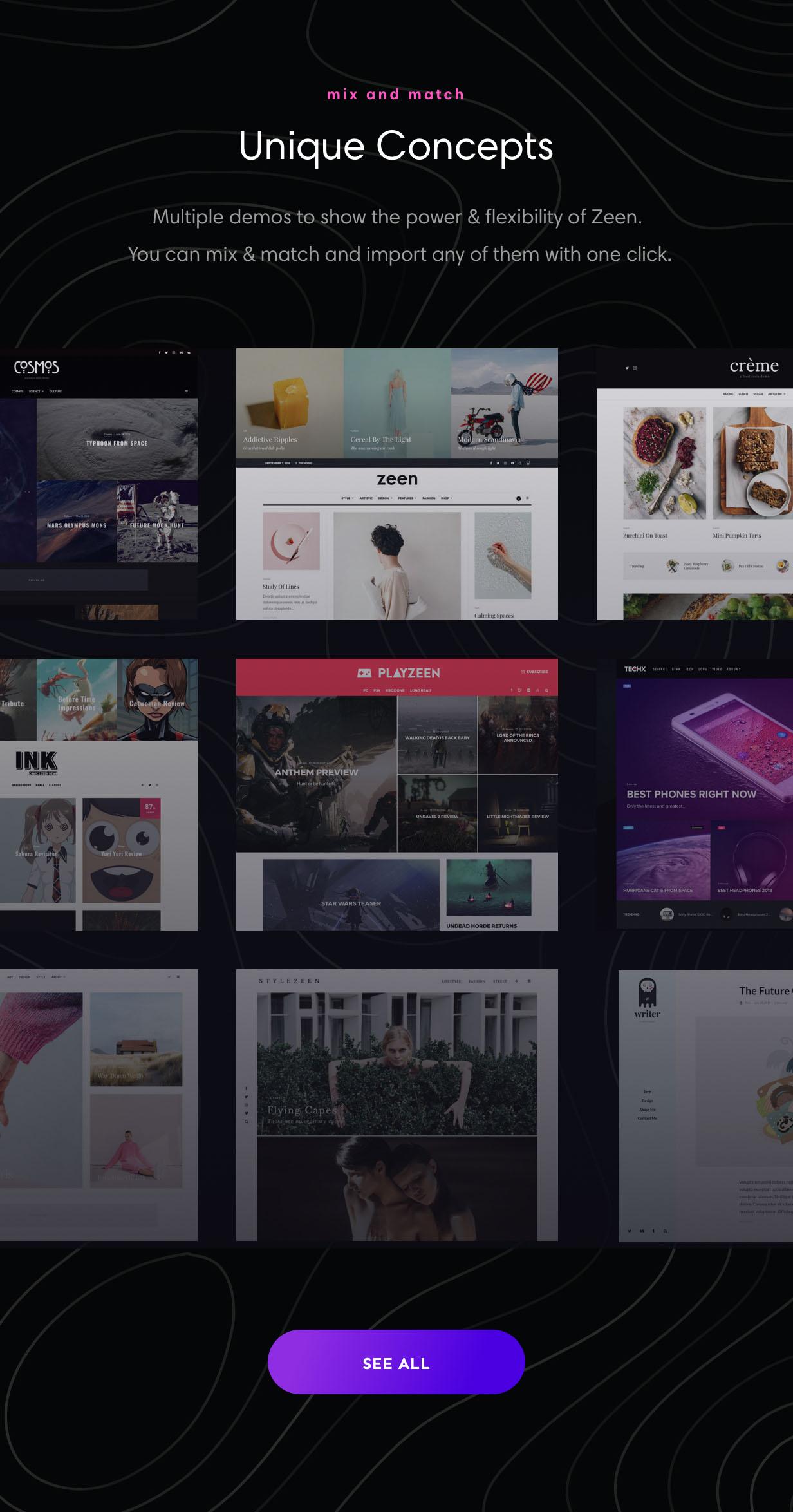 zeen concepts - Zeen | Next Generation Magazine WordPress Theme
