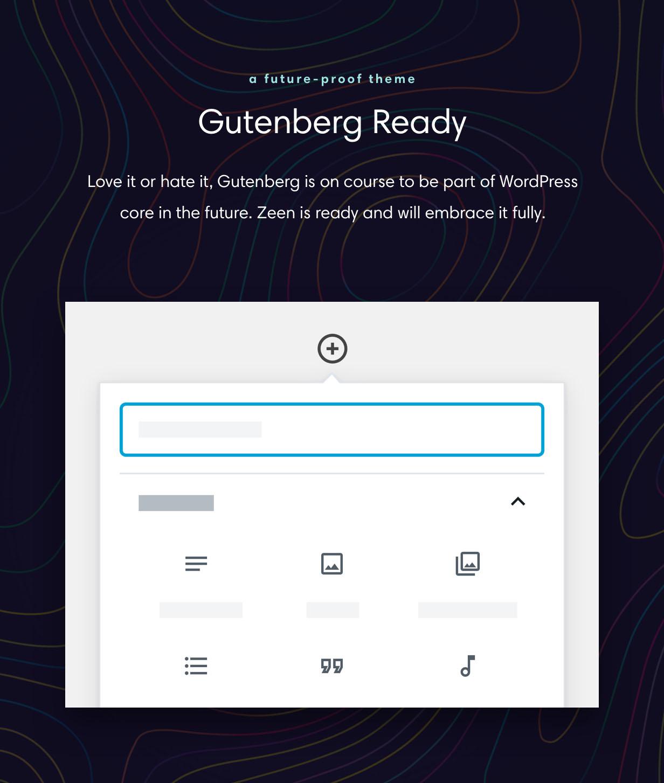 zeen gutenberg - Zeen | Next Generation Magazine WordPress Theme