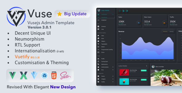 01. Vuse Banner.  large preview - Vuse: VueJs CLI Material Admin