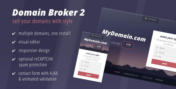 01 preview1.  large preview - Domain Broker 2 - Landing Page to Sell Domains