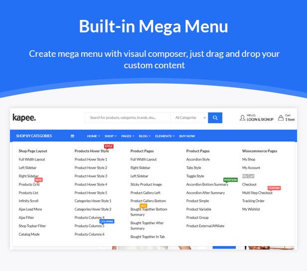 04 mega menu - Kapee - Modern Multipurpose WooCommerce Theme