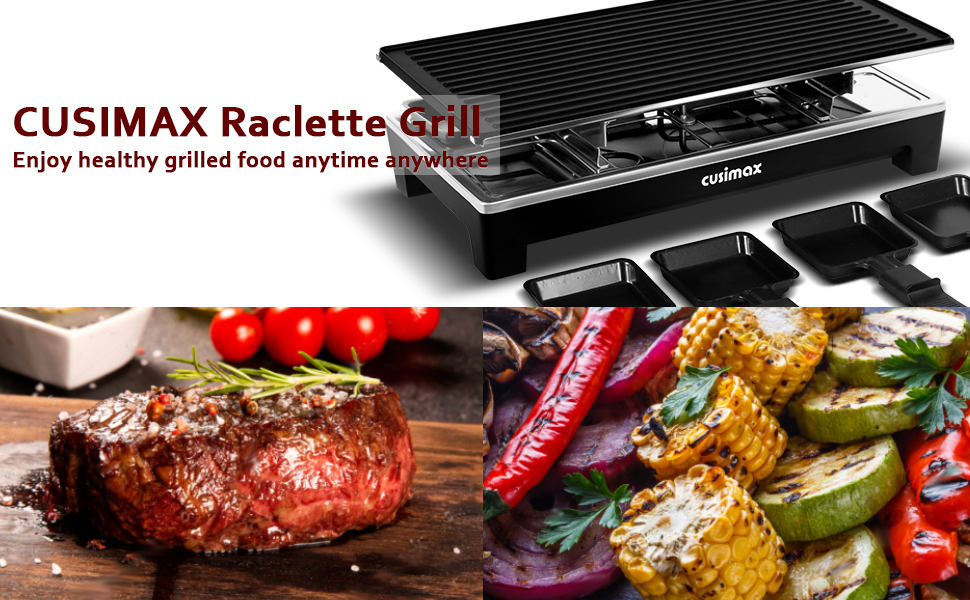 068a5ac7 6a12 478f a22b 9442b1448716.  CR0,0,970,600 PT0 SX970 V1    - CUSIMAX Raclette Grill Electric Grill Table, Portable 2 in 1 Korean BBQ Grill Indoor & Cheese Ractlette, Reversible Non-stick plate, Crepe Maker with Adjustable temperature control and 8 Paddles