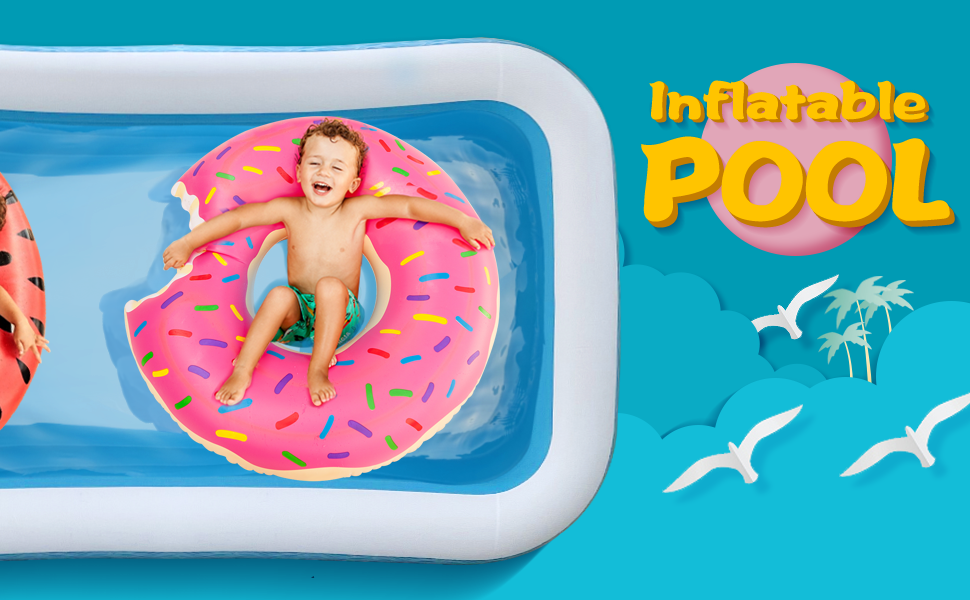 """13d203ba 1ad5 429a b9fa 8ae15379baba.  CR0,0,970,600 PT0 SX970 V1    - heytech Family Inflatable Swimming Pool, 118"""" X 72"""" X 22"""" Full-Sized Inflatable Lounge Pool for Kiddie, Kids, Adult, Toddlers for Ages 3+, Outdoor, Garden, Backyard Summer Water Party Blow up Pool…"""